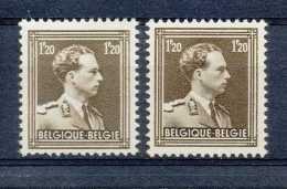 N° 1005, 1F20 Brun, Col Ouvert, Perf 11 1/2, En 2 Nuances