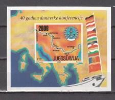 Yugoslavia 1988,block,Donau Conference,landscape,river,flags,banners,vlaggen,drapeaux,flaggen,MNH/Postfris(L2787)