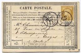 !!! CARTE PRECURSEUR CERES CACHET DE DIJON ( COTE D'OR) 1876 - Cartoline Precursori