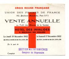 CROIX ROUGE FRANCAISE  Union Des Femmes De France  SECTION DES INFIRMIERES  Comptoir Du Dispensaire VENTE ANNUELLE 1932 - Publicités