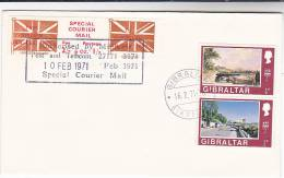 1971 COVER GIBRALTAR Stamps GB POSTAL STRIKE COURIER MAiL LABEL Great Britain - Cinderellas