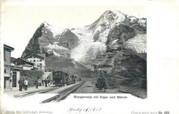 SWITZERLAND - WENGERNALP MIT EIGER UND MONCH - TRAIN, DEPOT, PASSENGERS - VINTAGE ORIGINAL POSTCARD - BE Berne