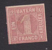 Bavaria, Scott #4, Mint No Gum, Number, Issued 1850 - Bavaria