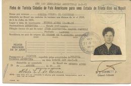 BRAZIL - 1961 FICHA DE TURISTA CIDADAO DE PAIS AMERICANO Para Uma ESTADA De TRINTA DIAS No BRASIL - Issued In ARGENTINA - Documentos Históricos