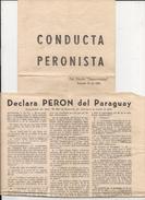 ARGENTINA - DOCUMENTOS PERONISTAS - CONDUCTA PERONISTA Diario DEMOCRACIA 14/855 - PERON En PARAGUAY 8/10/55 - RESERVISTA - Documentos Históricos
