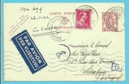 528 Op Entier Per Luchtpost  (Par Avion) Met Stempel BRUXELLES 4/5/42 Naar Lisbonne (Portugal) + Censuur - 1936-1957 Col Ouvert