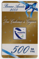 ALGERIE Recharge MOBILIS BONNE ANNEE 2008 - Algeria