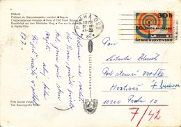 K9684 - Czechoslovakia (1973) Praha 025 (postcard: Prague) Tariff: 30 H (stamp: 50 Years Of Czechosl. Radio Broadcasting