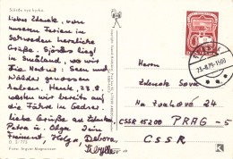 K9559 - Denmark (1979) Steosek (postcard: Sjösas); Postcard To Czechoslovakia; Stamp: 100 Years Phone In Denmark