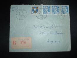 LT TP MARIANNE DE GANDON 15F X3 + BLASON SAINTONGE 5F OBL.8-2-1955 PICQUIGNY SOMME (80) + GRIFFE + CAFE TABAC MAXIME