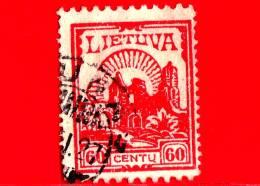 LITUANIA - LIETUVA  - Usato - 1923 - La Prima Emissione Standard Della Nuova Valuta - Castello Di Kaunas - 60