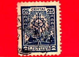 LITUANIA - LIETUVA  - Usato - 1923 - La Prima Emissione Standard Della Nuova Valuta - Crucifix - 25