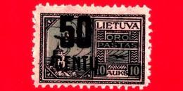Nuovo - MNH - LITUANIA - LIETUVA - 1922 - Posta Aerea Sovrastampa In Nuova Valuta - Castello Di Gediminas - 50 Su 10