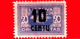 Nuovo - MNH - LITUANIA - LIETUVA - 1922 - Posta Aerea Sovrastampa In Nuova Valuta - Corno Postale - 10 Su 20