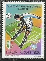 ITALIA REPUBBLICA ITALY REPUBLIC 2000 LO SCUDETTO ALLA LAZIO CAMPIONE DI CALCIO MNH - 6. 1946-.. Repubblica