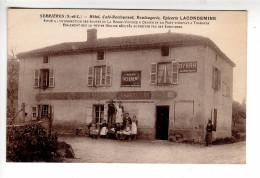 (n°543) CPA 71 SERRIERES Hotel Café-restaurant épicerie LACONDEMINE Route De La Roche Vineuse BYRRH Tramayes Grosne 1929 - Autres Communes