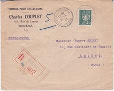 France, ROUBAIX PRINCIPAL, LETTRE RECOMMANDEE,1943 ,AVEC  PETAIN N°521B  SEUL  (2410/16) - 1921-1960: Modern Period