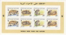 MDW-BK3-102 MDKH MINT MNH ¤ LIBYAN 1997 2x4w In Serie ¤ FELIS LYBICA - WWF - ENDANGERED SPECIES - MAMMALS
