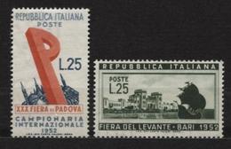 ITALIE Timbres ** Neuf N° 632 - 633   De 1952