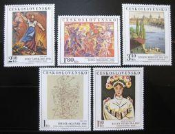 CZECHOSLOVAKIA Tschechoslowakei 1975 PAINTINGS SC# 2043-47 Kunstwerke Mi# 2294-98 MNH Postfrisch