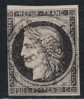 France - CERES N°3 20c Noir OBLITERATION CAD Du 8 JANVIER 1849 / TIMBRE Avec VERSO SANS DEFAUT