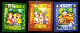 LATVIA , Lettland , Lettonia  -2007  Christmas  Children Skate, Ski  Used Stamp FULL SET  Very Rare (0) - Lettland