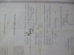 Congé Définitif 31/12/1881 16ème Corps D'Armé Béziers Rey Olonzac Classe 1861 - Documents