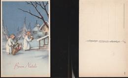 7942) AUGURALE BUON NATALE ANGELI CON GERLA CARIC DI DONI NON VIAGGIATA 1942 CIRCA ILLUSTRATORE NON RILEVATO - Natale
