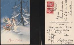 7944) AUGURALE BUON NATALE ANGELI CON CARRETTO CARICO DI DONI VIAGGIATA 1943 CIRCA ILLUSTRATORE NON RILEVATO - Natale