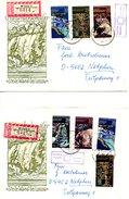 RDA. N°1879-83 De 1977 Sur 2 Enveloppes Commémoratives Ayant Circulé. Curiosités Naturelles.