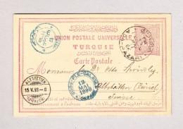 Türkei - Ganzsache 20 Para Von Ada-Azari Nach Altstetten ZH AK-Stempel 15.5.1899 Transit-o Blau Galata - 1837-1914 Smyrna