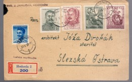 1950 Lettre Recommandée Registered Au Bon Tarif 11 K Avec Staline Y 519.520   Et Enfance 517-518  Cote Des Timbres +8€ - Tchécoslovaquie