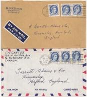 2 COVERS VANCOUVERT TORONTO CANADA TO ENGLAND. - 1952-.... Règne D'Elizabeth II