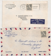 2 COVERS VANCOUVERT CAMPELL RIVER  CANADA TO ENGLAND. - 1952-.... Regno Di Elizabeth II