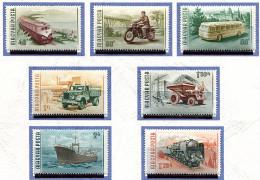 Hongrie ** N° 1183 à 1189 - Moyens De Transport : Automotrice, Autocar, Motocyclette, Camion, Benne Auto., Cargo -