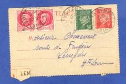 LEMPDES - HAUTE LOIRE (43) - CARTE LETTRE - 1942 - ENTIER POSTAL PETAIN 1F ROUGE + 3 Timbres - CACHETS. - Marcophilie (Lettres)