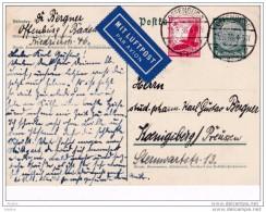 1936 - Carte Postale Entier Avec Complément D'affranchissement  Par Avion D' Offenburg, Allemagne Vers Koenigsberg - Allemagne
