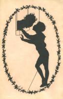 BOY AND GIRL IN LOVE FINE OLD SILHOUETTE Postcard - Silhouette - Scissor-type