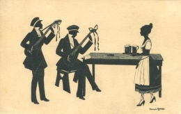 MAID BRINGS BEER TO MUSICIANS FINE OLD SILHOUETTE Postcard - Silhouette - Scissor-type
