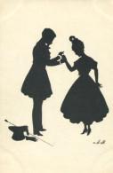 LOVERS IN TENDER ENGAGEMENT SCENE FINE OLD SILHOUETTE Postcard - Silhouette - Scissor-type