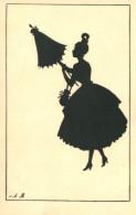 FANCY BEAUTY WITH UMBRELLA FINE OLD SILHOUETTE Postcard - Silhouette - Scissor-type
