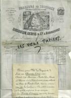 25 - Doubs - AUDINCOURT - Facture SIRCOULON & GERVIC - Fabrique De Chicorée – 1883 - REF 46A - 1900 – 1949