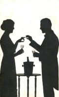 LOVERS IN ENGAGEMENT SCENE OLD SILHOUETTE Postcard (?) - Silhouette - Scissor-type