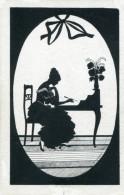 BEAUTY WRITES LETTER OLD SILHOUETTE Postcard - Silhouette - Scissor-type
