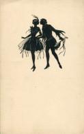 BEAUTIFUL GIRL DANCER AND MINSTREL OLD SILHOUETTE Postcard - Silhouette - Scissor-type