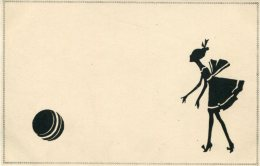 ART DECO SILHOUETTE Postcard BEAUTY AND BALL - Silhouette - Scissor-type