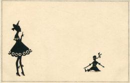 ART DECO SILHOUETTE Postcard BEAUTY AND DOLL - Silhouette - Scissor-type
