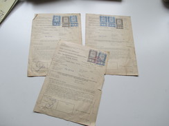 Tschechoslowakei 1951 Zoll Und Devisenerklärung 3 Stück Mit Fiskalmarken / Stempelmarken! Interessant??!! - Rechnungen