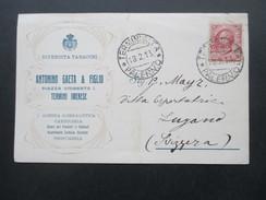 Italien 1913 Postkarte Rivendita Tabacchi. Antonio Gaeta & Figlio. Termini Imerese. Profumeria. Firmenkostkarte - Usati