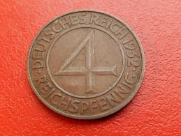 Piece De ALLEMAGNE - 4 REICHSPFENNIG 1932 D -  Bronze - [ 3] 1918-1933 : Weimar Republic